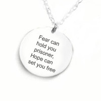 Quote Harry Potter Necklace Fear can hold you prisoner, Hope can set you free Sterling Silver Hand Stamped pendant