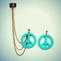 ear cuff with peace sign earrings, aqua peace sign, ear cuff with chains, aqua earrings