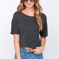 Amuse Society Harper Charcoal Grey Crop Top