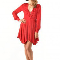Long Sleeve Ruffle Vneck Dress