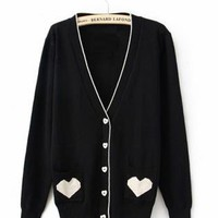 Black V Neck with Sweet Heart Poket Sweater S000353