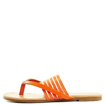 Sheer-Striped Banded Thong Sandals by Charlotte Russe - Orange