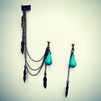 ear cuff with turquoise drop and feather earrings, ear cuff with chains, tribal ear cuff, feather ear cuff, turquoise earrings