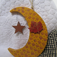 Harvest Moon Wood Painted Wall Hanging