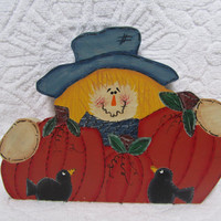 Scarecrow, Black Birds and Pumpkins Wood Painted Shelf Sitter