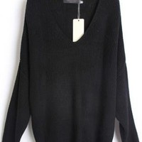 Loose Bat Sleeve Black Sweater  S001740