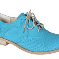 REFRESH ALEXIS-01 Women¡¯s Oxford men¡¯s style dress shoe with dotted PU upper and laces