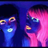 Black Light Reactive Neon Makeup with Black Light Pendant