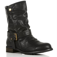 Black Mid Calf Biker Boots