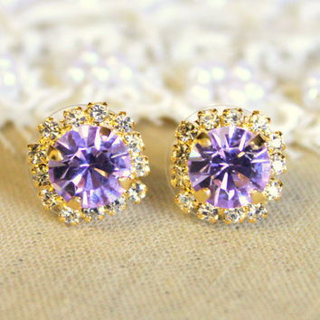 Crystal stud violet purple earring - 14k plated gold post earrings real swarovski rhinestones .