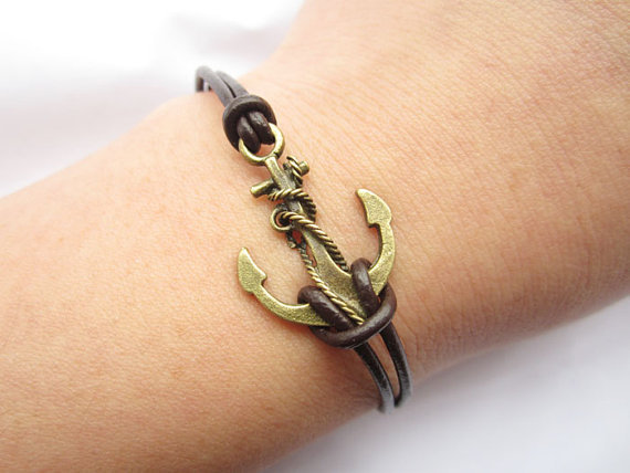 Anchor Bracelet---antique bronze unique little anchor&brown leather chain