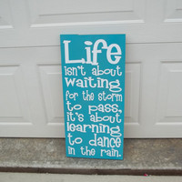 Dancing in the Rain 12x24 Wood Sign