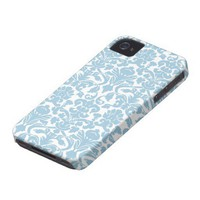 Damask Pattern - Light Blue Case-mate Iphone 4 Case from Zazzle.com
