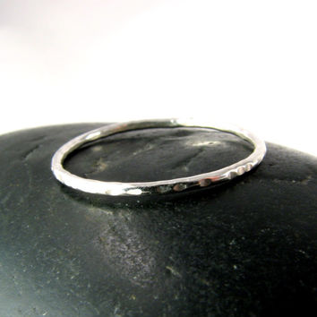 Hammered Silver Ring - 1mm Stacking - Skinny Stacker - Made to Order in Your Size - Skinny Ring - Thin Silver Ring - Stacking Ring