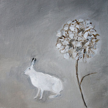 Archival print 'Hare and hydrangea' Square, 2 sizes