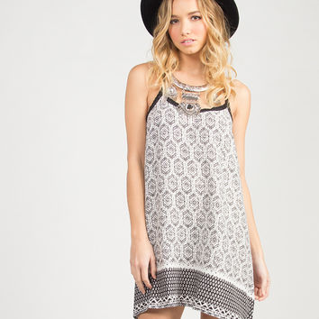 Tribal Crochet Strapped Dress - Black/White /