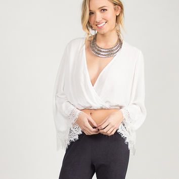 Super Bell Sleeved Cropped Blouse - White - White /