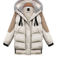 Color Block Hooded Knit Puffer Coat