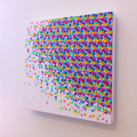 "Canvas Art Print - ""Funfetti Explosion"" Graph Drawing, original art, art on canvas"