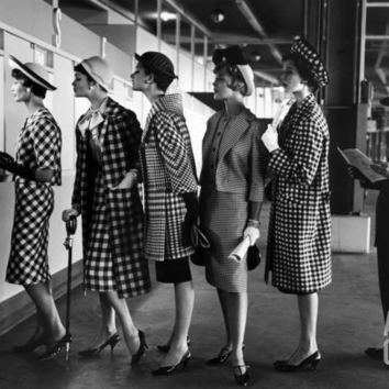5 Models Wearing Fashionable Dress Suits at a Race Track Betting Window, at Roosevelt Raceway Photographic Print by Nina Leen at Art.com