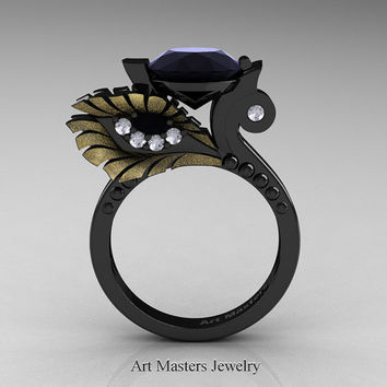 High Fashion Nature Inspired 14K Black Yellow Gold 3.0 Ct Black and White Diamond Marquise Eye Engagement Ring R359S-14KBYGDBD