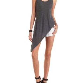 Ribbed Asymmetrical Tank Top by Charlotte Russe - Charcoal