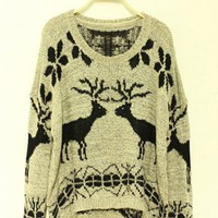 Deer loose pullovers  Gray$44.00
