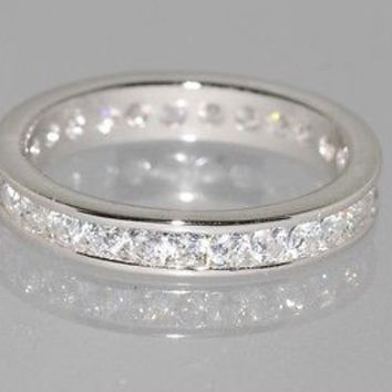 Sterling Silver Wedding Band Eternity Ring Cubic Zirconia 3mm wide Clear CZ