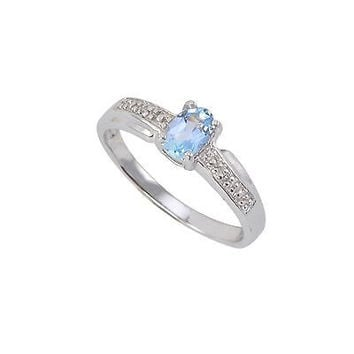 Sterling Silver .01ct Genuine Diamond Ring with 6x4mm Blue Topaz Stone