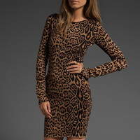 BCBGMAXAZRIA Long Sleeve Leopard Dress in Camel Combo at Revolve Clothing - Free Shipping!