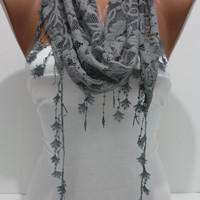Dark Gray Cozy Shawl Scarf - Headband -with Lace Edge - Trending autumn winter