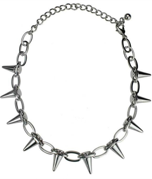 Silver Chain Rivet Thorns Necklace - Sheinside.com