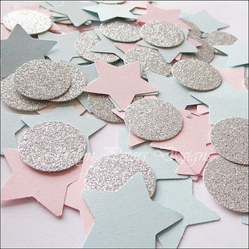 Party Confetti, Gender Reveal, Baby Shower, Pink And Blue Stars, Silver Glitter, Twinkle Theme, 1st Birthday Party Decorations, 150 Piece