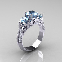 14K White Gold Three Stone Diamond Aquamarine Solitaire Ring R200-14KWGDAQ