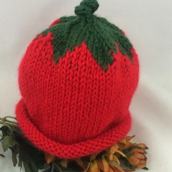 Baby Hat 3-6 mos StrawBerry Hat Red Dark Sage Leaves Caron Simply Soft