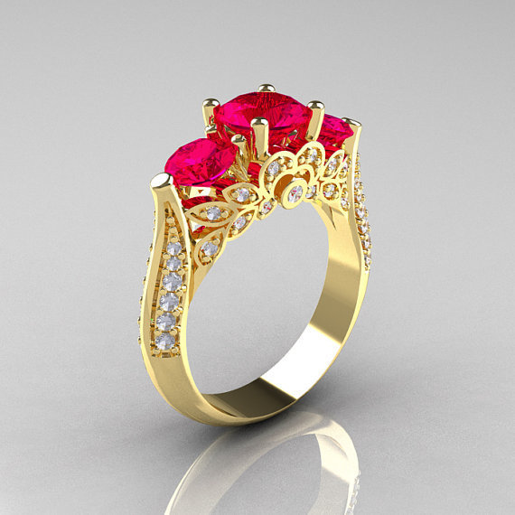 14K Yellow Gold Three Stone Diamond Rubies Solitaire Ring R200-14KYGDR