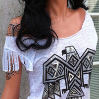 White Bird design Shredded Shirt