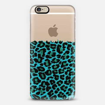 Turquoise Faux Denim Leopard Transparent iPhone 6 case by Organic Saturation | Casetify