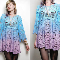 CROCHET Vintage Babydoll Lace Dress, OMBRE Dip-Dye