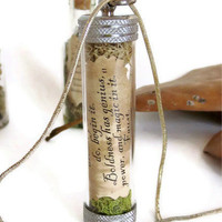 Seize this Very Minute.... Message in a Bottle, Black Mushroom Necklace, Message Necklace,Inspirational Quote Message