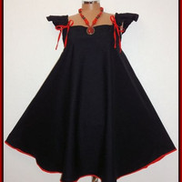 Black &amp; Red Gothic/Retro Ruffle Mini Swing Dress (Size 24-26)