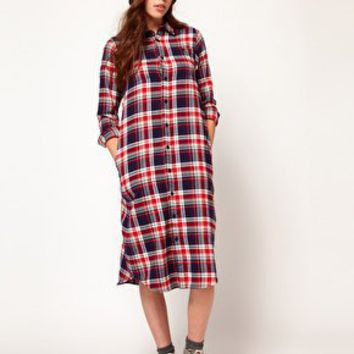 White Chocoolate Oversize Check Shirt Dress at asos.com