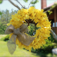 Primitive Burlap Wreath Gold Yellow Mustard Spring Home Americana Garden