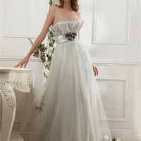 Strapless Ruched Bodide with Beaded Waistband Floor Length Tulle Prom Dress PD2168 Dresses UK