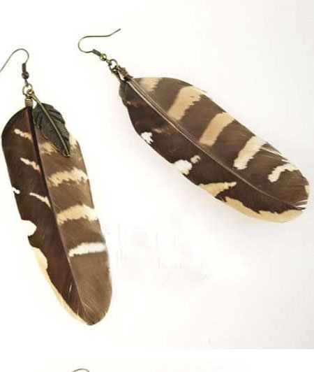 Brown Feather with Leaves Dangle Earring - Sheinside.com