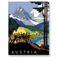 Austria ~ Vintage Austrian Alps Travel Poster Postcard