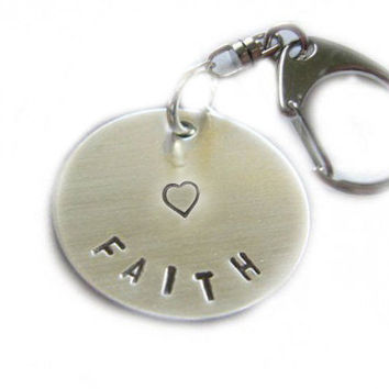 Customize Keychain Hand Stamped Personalized Key chain heart faith