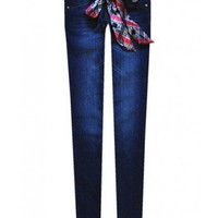 Low Waist Dark blue cotton skinny jeans  Low Waist type  Solid Pop  style zz916010 in  Indressme