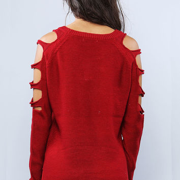 Cut- Out Sleeve Sweater