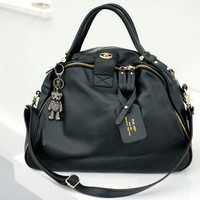 NEW Bigger Size. Chic Stylish Black Leather Large Tote Bag. Weekend Handbag  - Handbags &amp; Bags